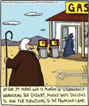 After 39 years and 11 months of stubbornly wandering the desert, Moses' wife decides to ask for directions to the promised land,