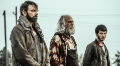 "Z NATION -- ""Warren's Wedding"" Episode 407 -- Pictured: (l-r) Keith Allen as Murphy, Russell Hodgkinson as Doc, Nat Zang as 10K -- (Photo by: Daniel Sawyer Schaefer/Go2 Z 4/Syfy)"
