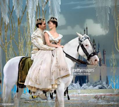 LOS ANGELES - FEBRUARY 22: Cinderella, a made for TV movie, CBS television special, originally broadcast February 22, 1965. Pictured left to right: Stuart Damon (as Prince), Lesley Ann Warren (as Cinderella). (Photo by CBS via Getty Images)